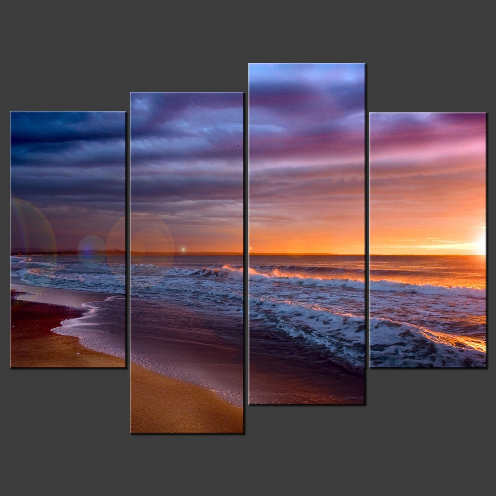 Sunset Beach Blue Split Canvas Wall Art Pictures Prints Larger For Split Wall Art (Image 16 of 20)