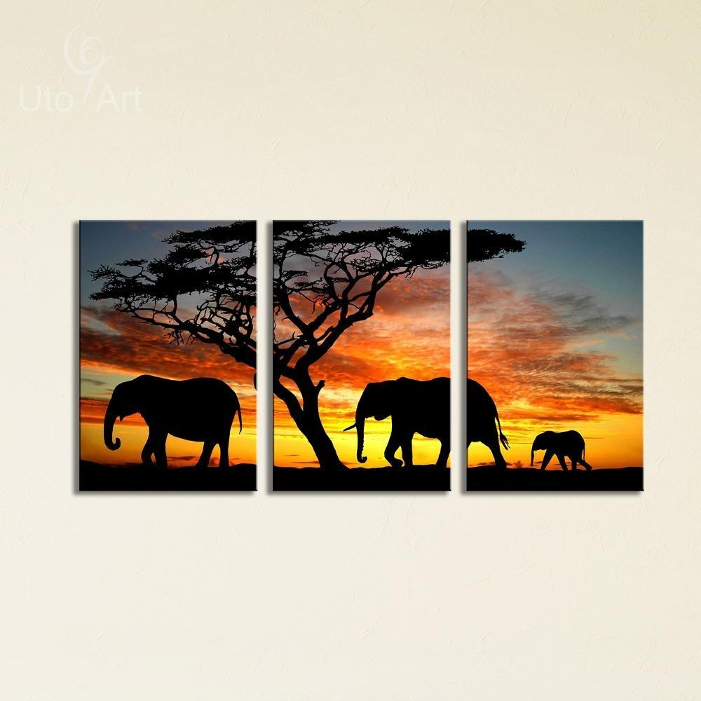 Sunset Elephant Painting Canvas Wall Art Picture Home Decoration In Animal Canvas Wall Art (View 19 of 20)