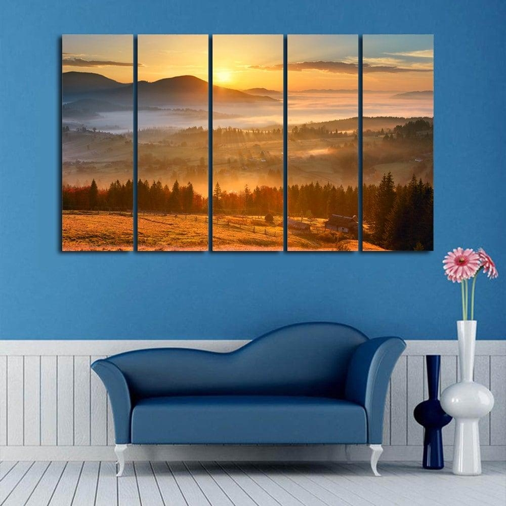 Sunshine Landscape Print Wall Art Split Canvas Paintings, Orange Regarding Split Wall Art (View 13 of 20)