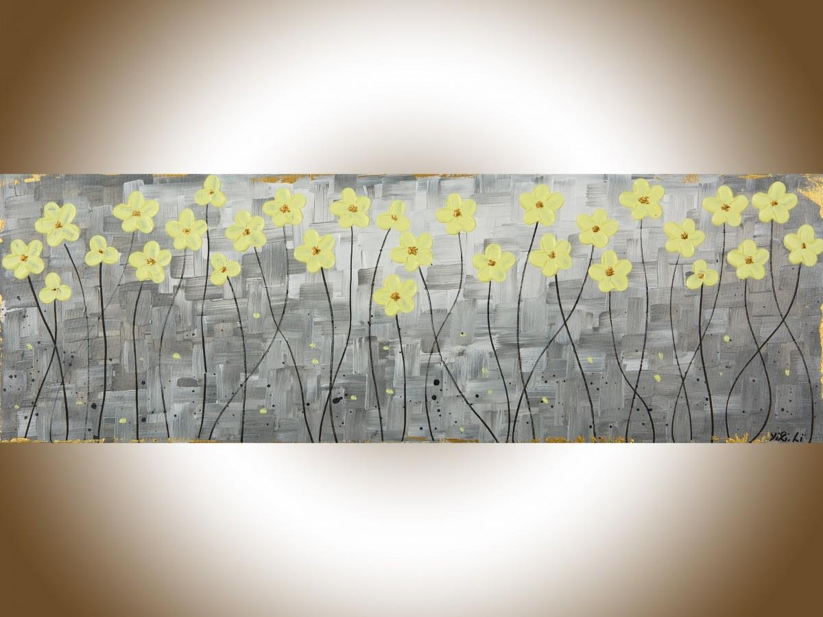 "Sunshineqiqigallery 36"" X 12"" Original Abstract Painting Gray Within Yellow And Gray Wall Art (Image 8 of 20)"