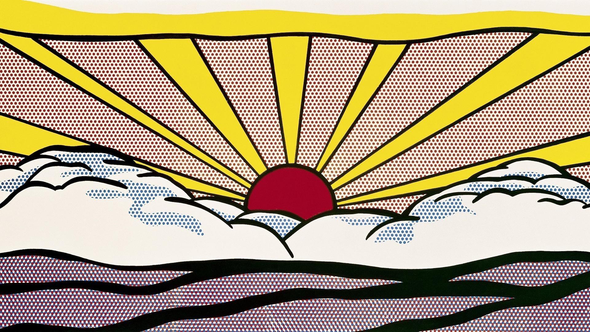 Sunshines Brightness Interesting Beautifull Red Round Sun Pop Art Within Pop Art Wallpaper For Walls (View 8 of 20)