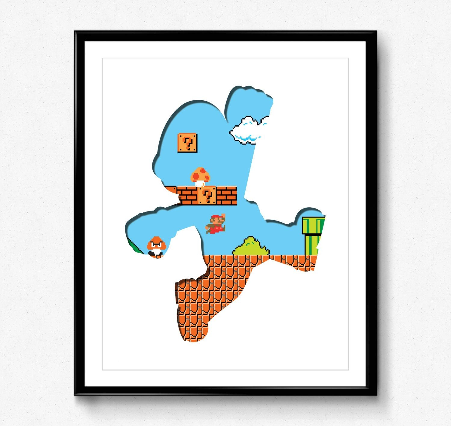 Super Mario Bros 8 Bit Mario Video Game Print Wall Art Throughout Video Game Wall Art (View 7 of 20)