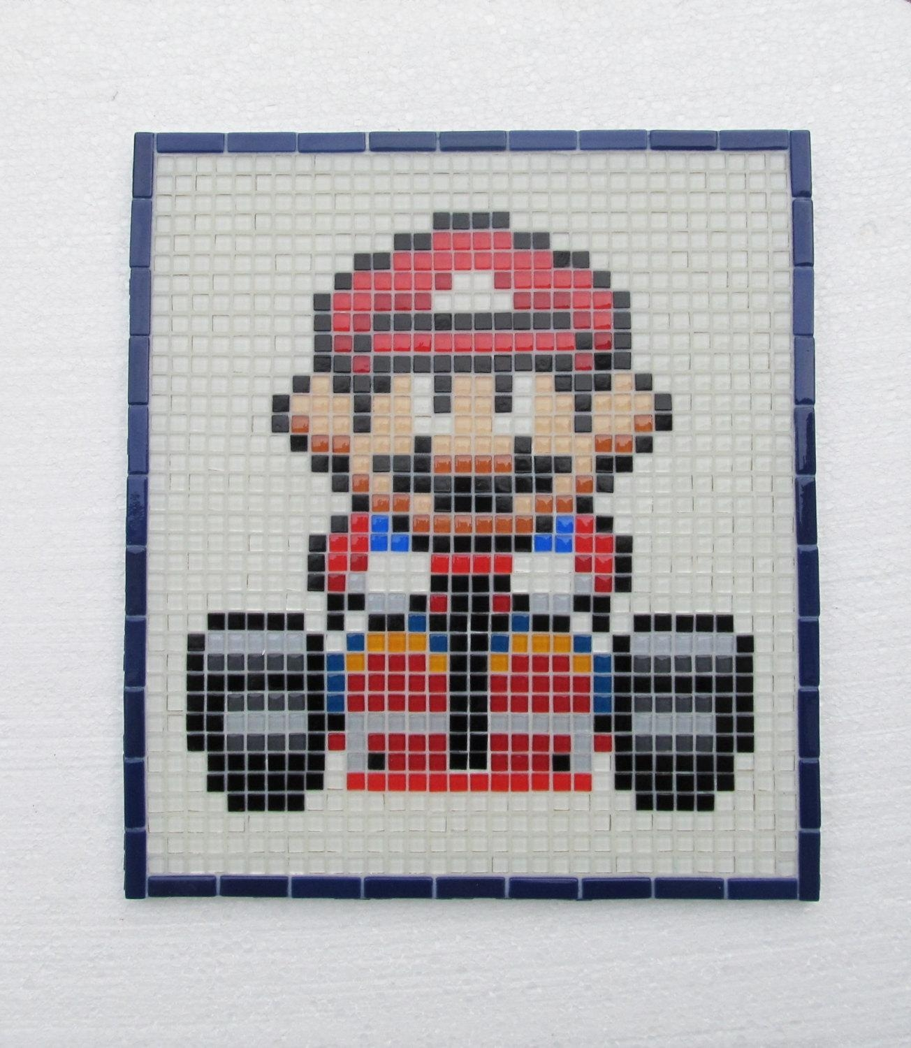 Super Mario Kart Handmade Mosaic Wall Art Glass Mosaic Wall For Pixel Mosaic Wall Art (Image 13 of 20)