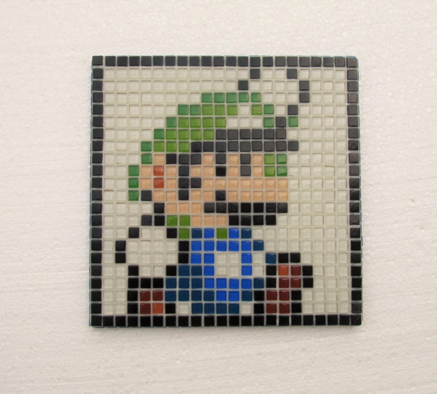 Super Mario World Handmade Mosaic Wall Art Luigi Glass Intended For Pixel Mosaic Wall Art (Image 14 of 20)