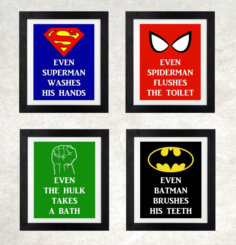 Superhero Bathroom // Boys Bathroom Wall Art // Superhero For Superhero Wall Art For Kids (Image 13 of 20)