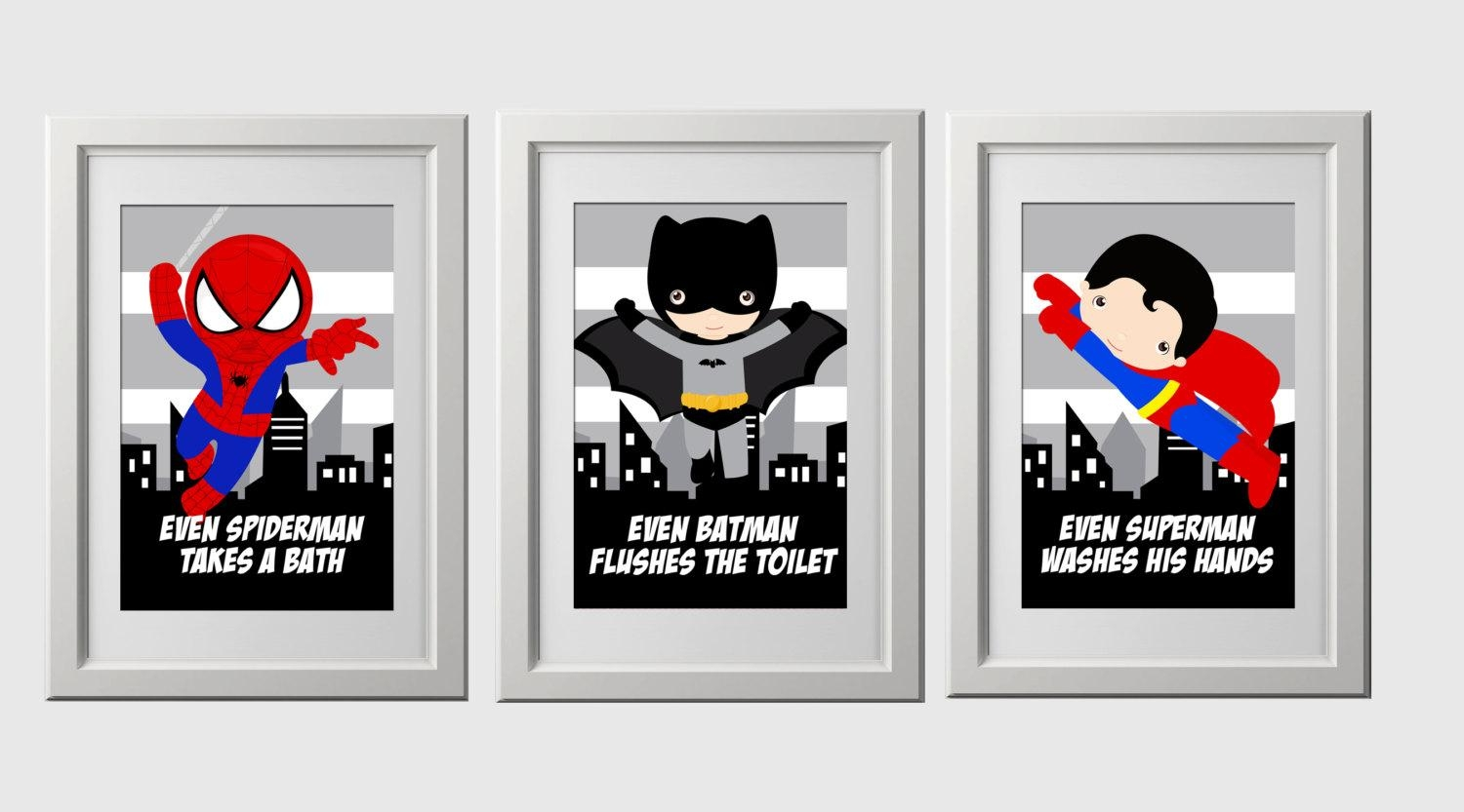 Superhero Bathroom Wall Prints Instant Download Set Of 3 For Superhero Wall Art For Kids (Image 14 of 20)