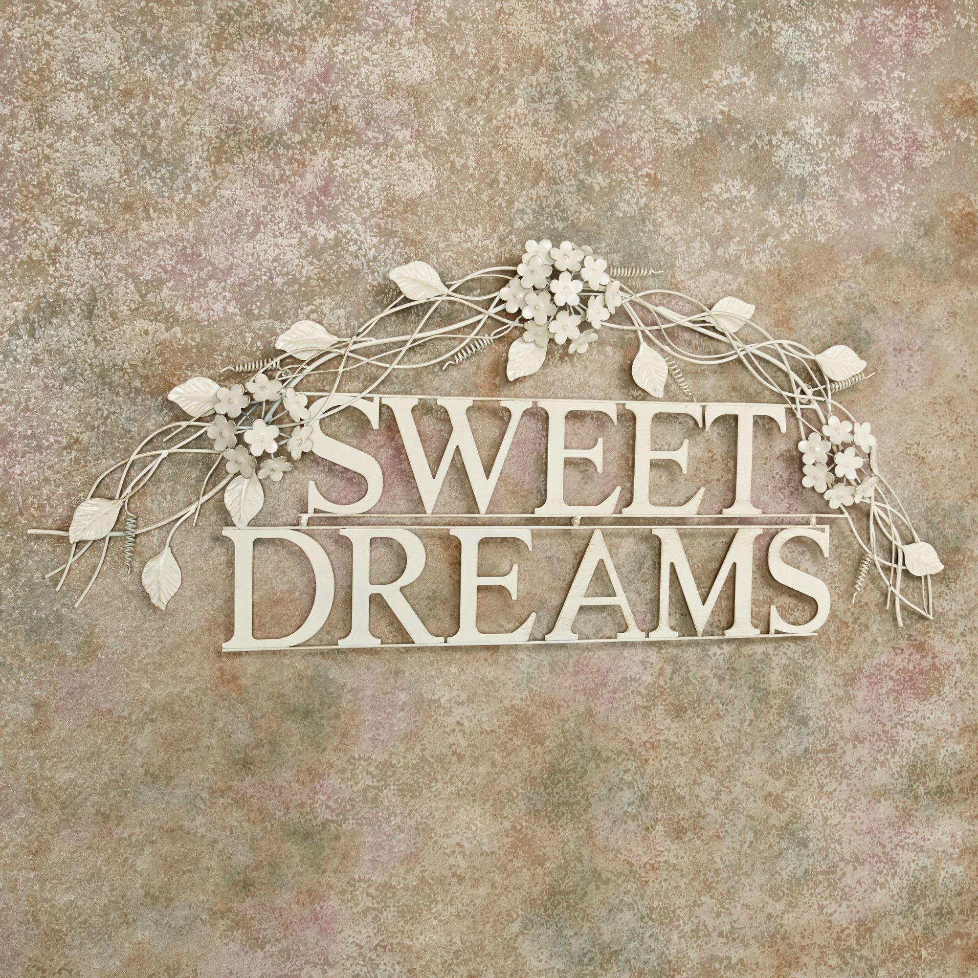 Sweet Dreams Creamy Gold Metal Word Wall Art Pertaining To Metal Word Wall Art (Image 15 of 20)
