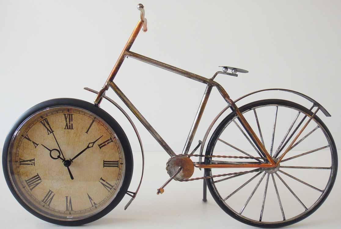 Table Clock – Metal Bicycle Clock Regarding Metal Bicycle Wall Art (Image 15 of 20)