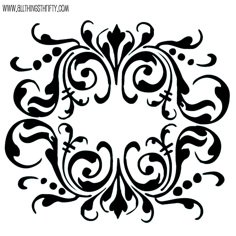 Table : Printable Damask Wall Stencils Modern Large Printable Regarding Black And White Damask Wall Art (Image 15 of 20)