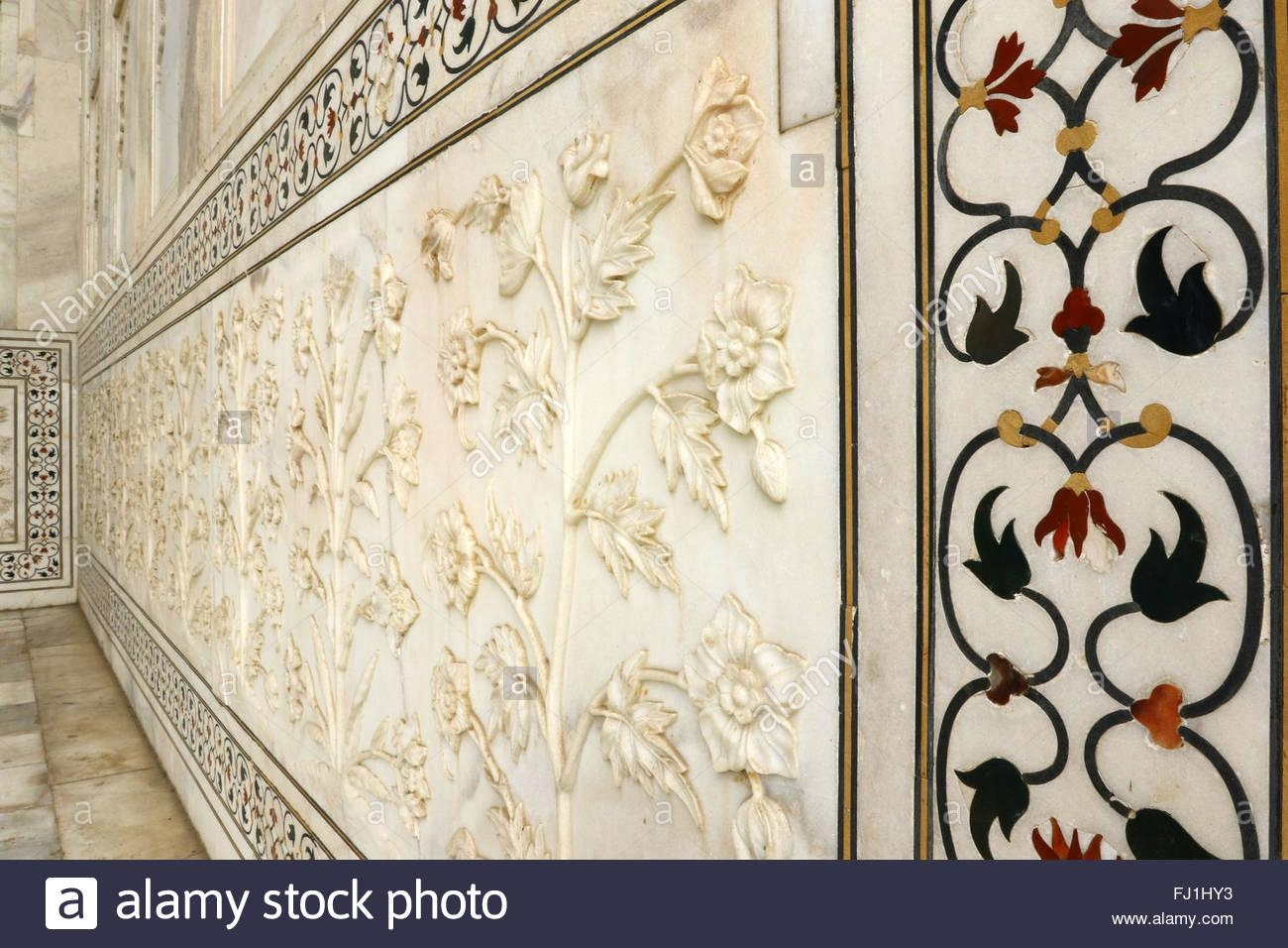 Taj Mahal Marble Art Flowers Stock Photos & Taj Mahal Marble Art Inside Taj Mahal Wall Art (View 11 of 20)