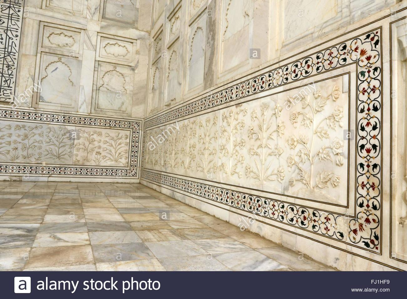 Taj Mahal Marble Art Flowers Stock Photos & Taj Mahal Marble Art With Taj Mahal Wall Art (View 7 of 20)