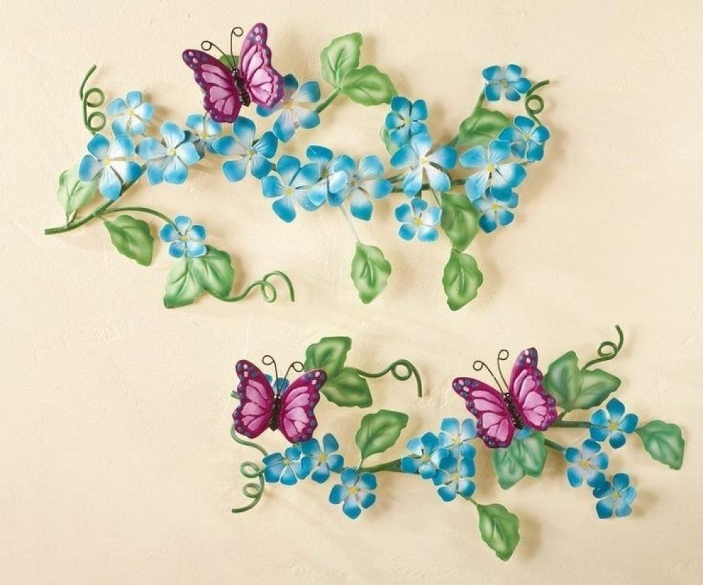 Tall Metal Wall Art Topiary Of Blooming Flowers And Butterflies With Topiary Wall Art (Image 15 of 20)