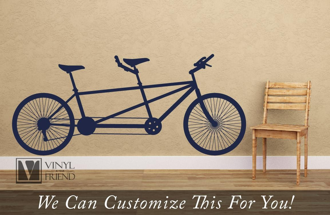 Tandem Road Bicycle Retro Vintage Wall Decor Vinyl Decal A Sports Throughout Bicycle Wall Art Decor (Image 18 of 20)