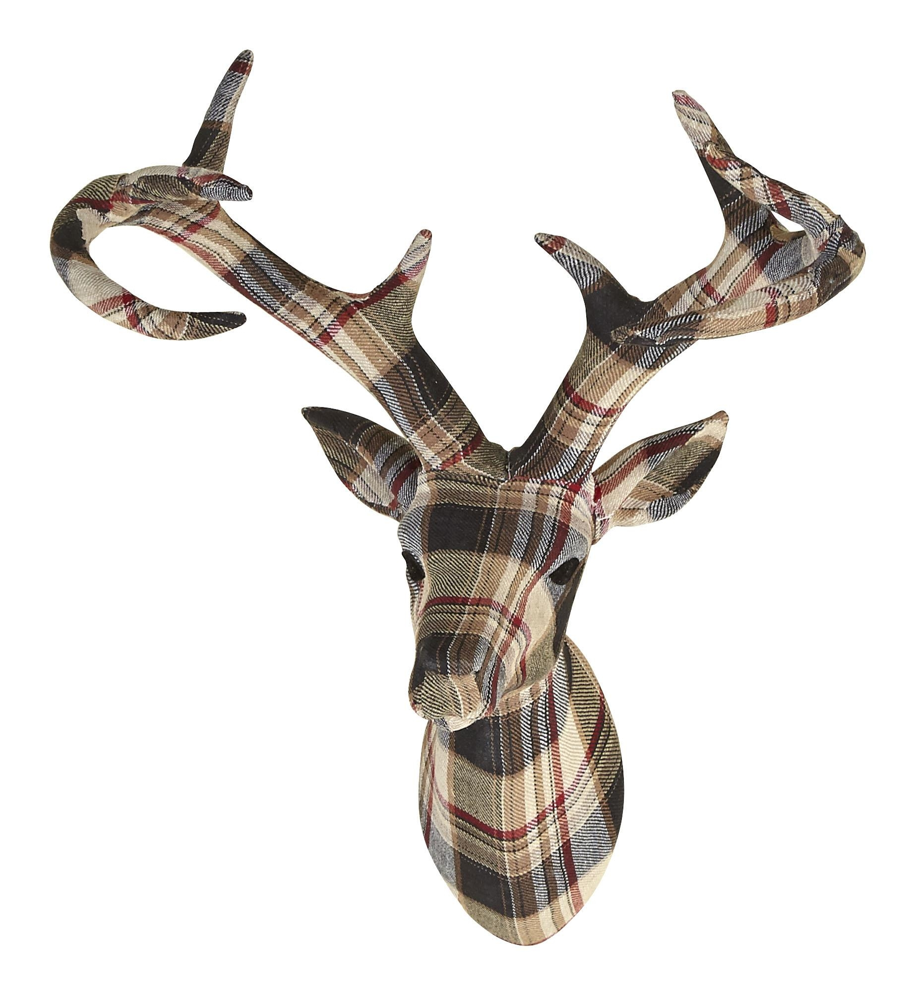 Tartan Stag Head With Fabric Finish – Arthouse Within Stags Head Wall Art (Image 18 of 20)