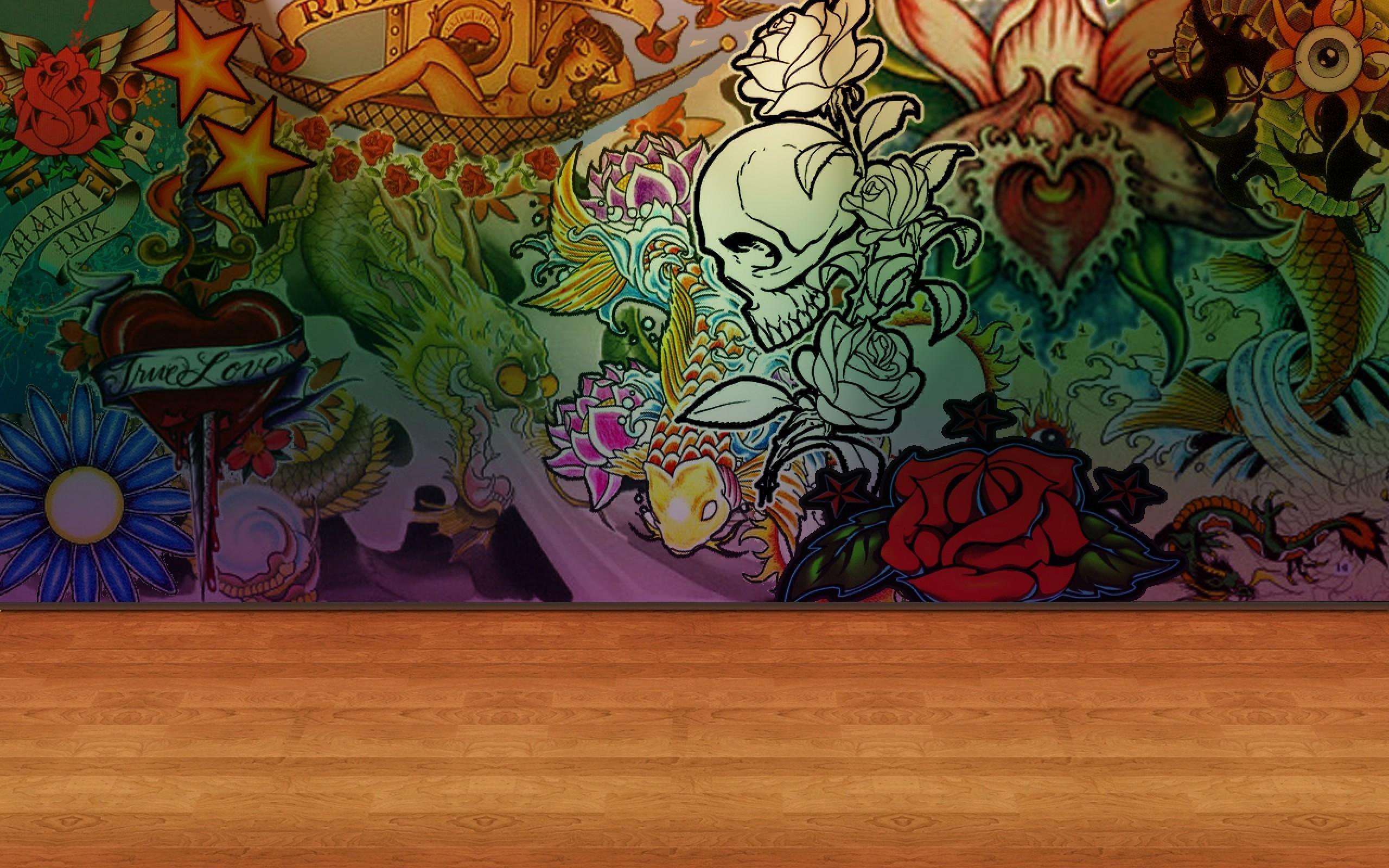 Tattoo Wall Rose Wallpaper Art For Desktop Mob #7939 Wallpaper Pertaining To Tattoo Wall Art (View 7 of 20)