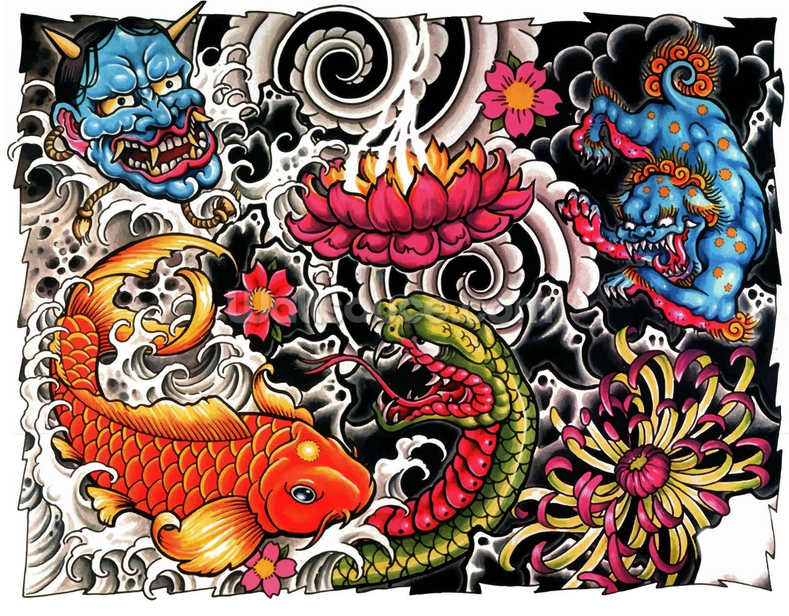 Tattoo Wallpaper Wall Mural | Wallsauce Usa Pertaining To Tattoo Wall Art (Image 17 of 20)