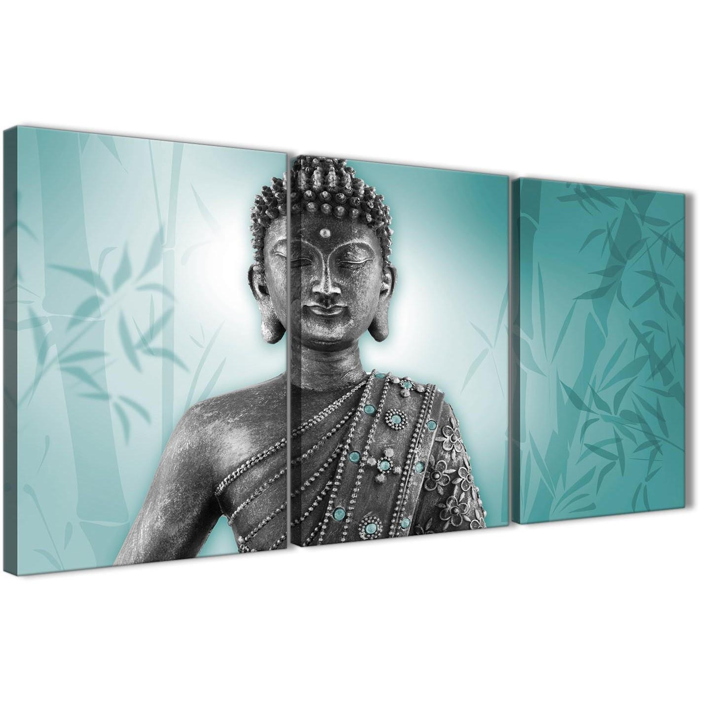 Teal And Grey Silver Canvas Art Prints Of Buddha – Split Set Of 3 Intended For Silver Buddha Wall Art (Image 18 of 20)
