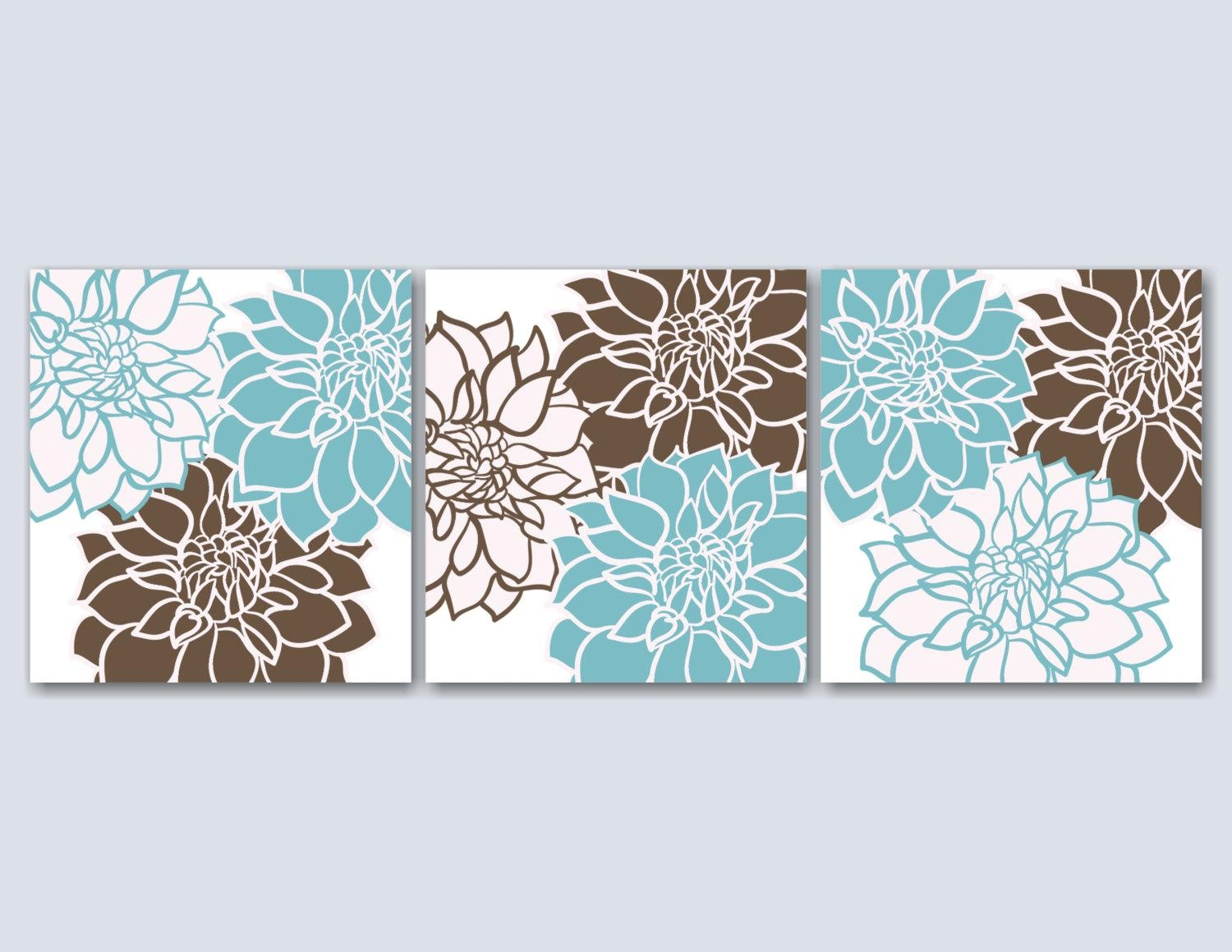 Teal Brown Bedroom Wall Artblue Brown Floral Wall Artbrown Throughout Turquoise And Brown Wall Art (View 2 of 20)