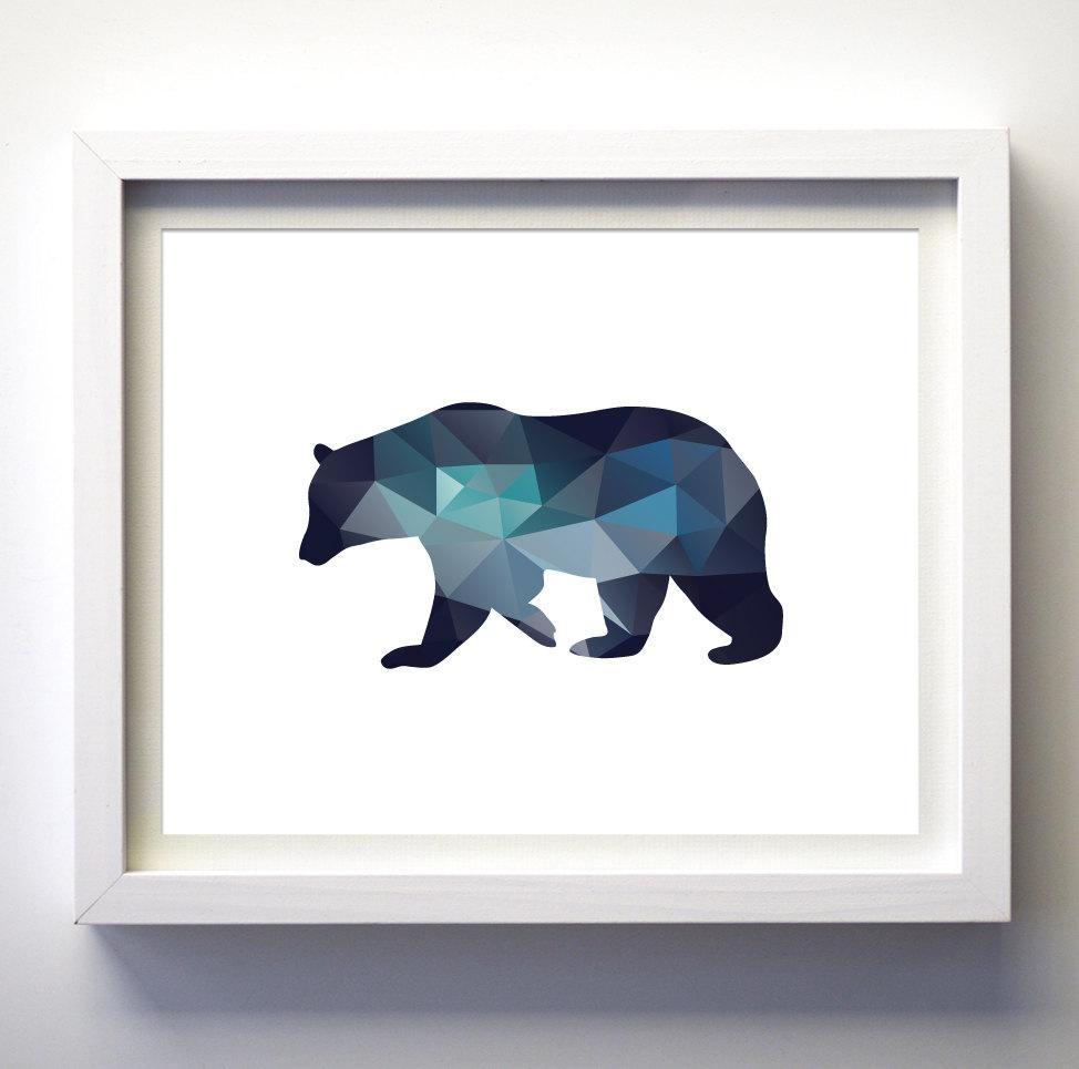 Teal Navy Blue Aqua Blue Wall Art Bear Print Minimalist Regarding Navy Blue Wall Art (Image 19 of 20)