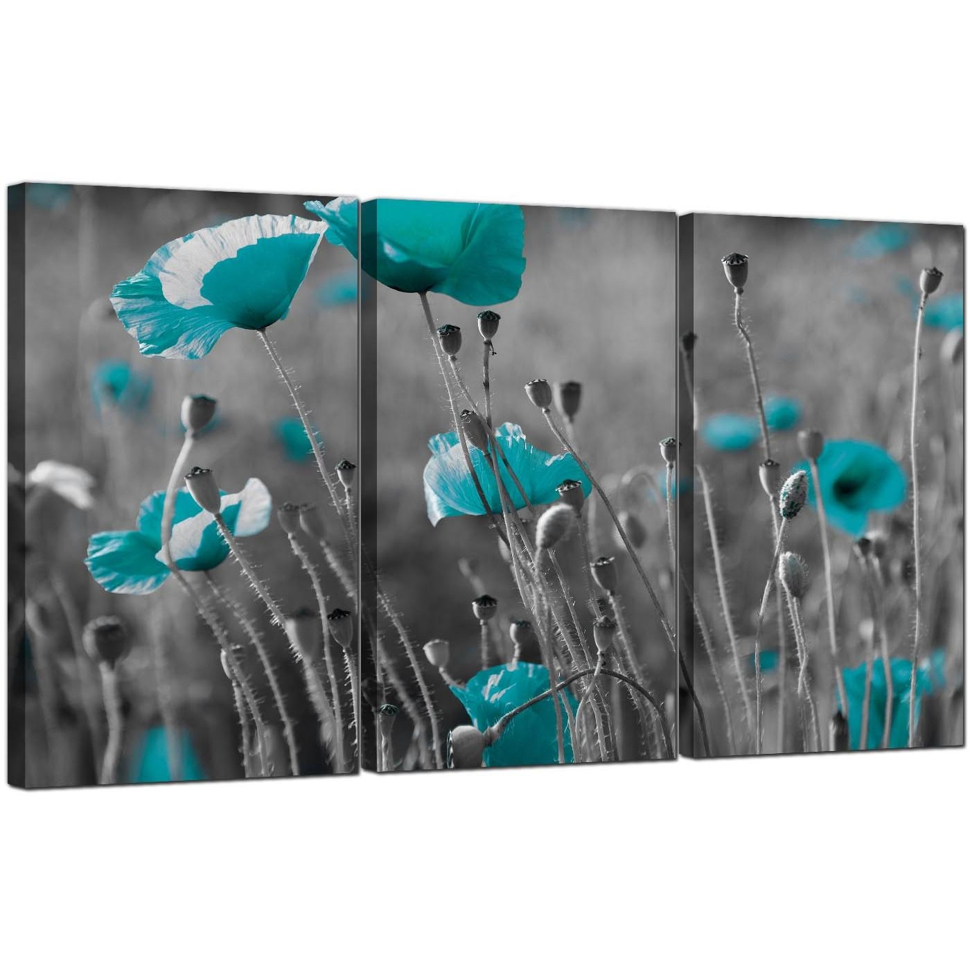 Teal Poppy Canvas Wall Art Set Of 3 For Your Dining Room Within Blue And Green Wall Art (Image 20 of 20)