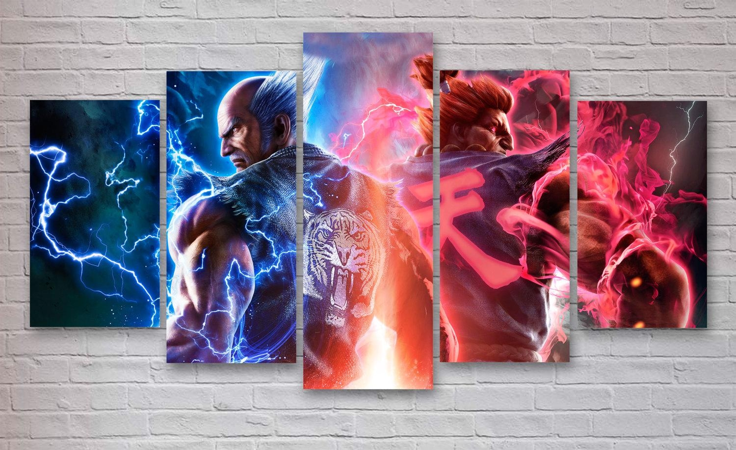 Tekken 7 Gaming 5 Panel / Piece Canvas Wall Art Office Intended For 7 Piece Canvas Wall Art (Image 14 of 22)