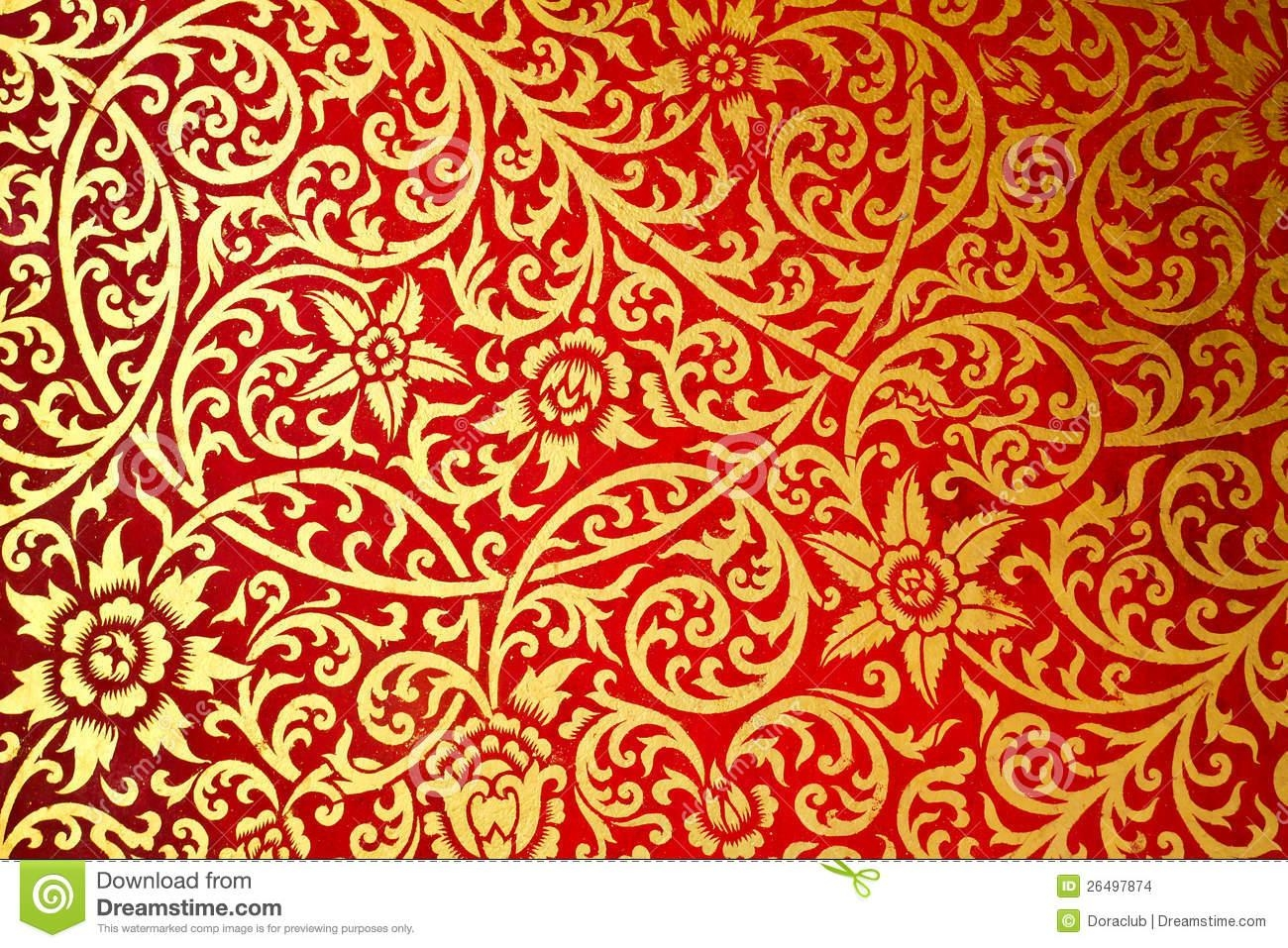 Thai Art Pattern Old Style The Wall In The Temple Stock Images Within Pattern Wall Art (Image 17 of 20)