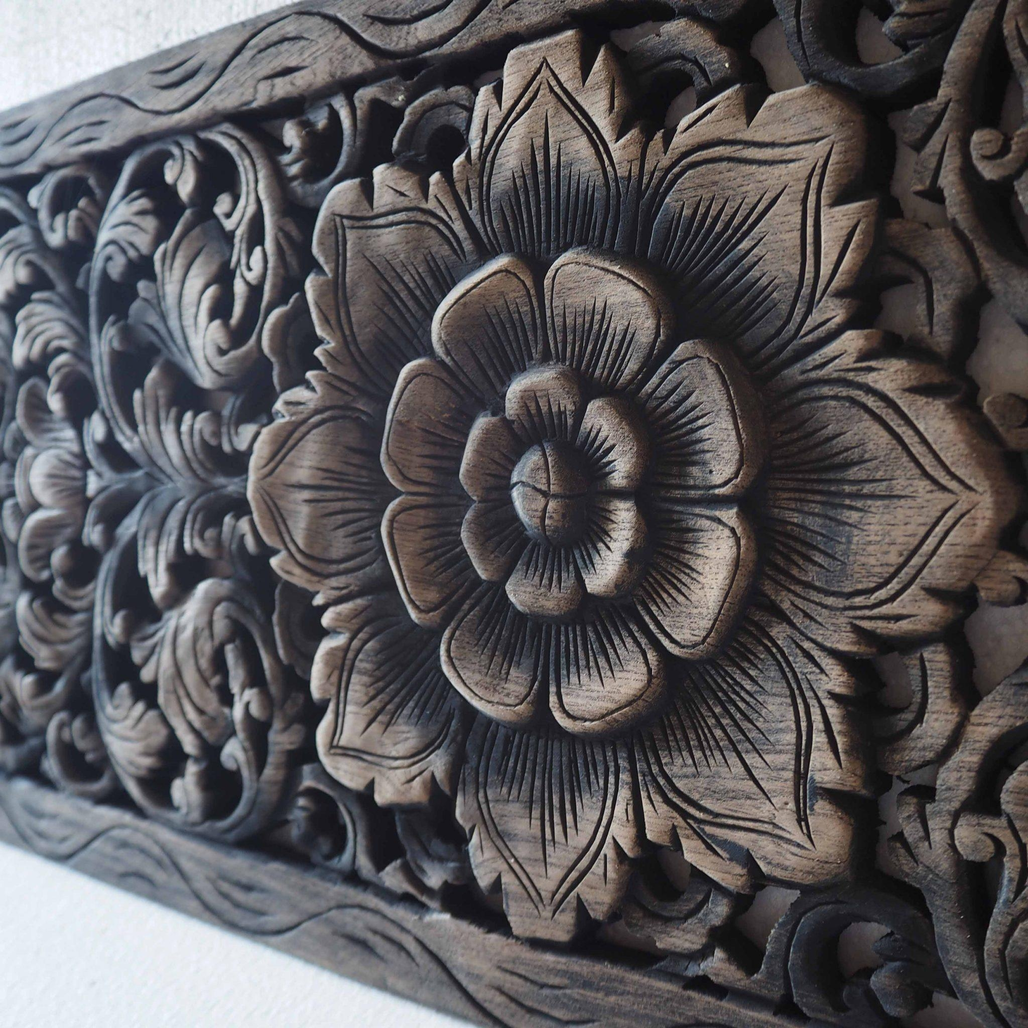Thai Lotus Wood Carving Wall Art Panel – Siam Sawadee Within Wood Carved Wall Art Panels (Image 12 of 20)
