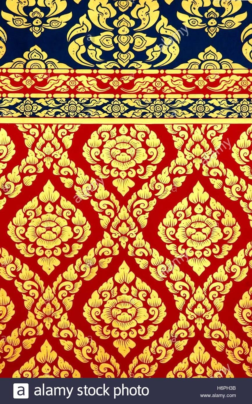 Thai Pattern Wall Art Painting In The Temple, Thailand Stock Photo Inside Pattern Wall Art (View 8 of 20)