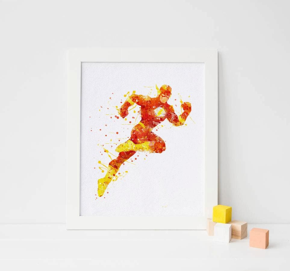 The Flash Poster Flash Print Flash Watercolor Flash Superhero Inside Superhero Wall Art For Kids (Image 16 of 20)