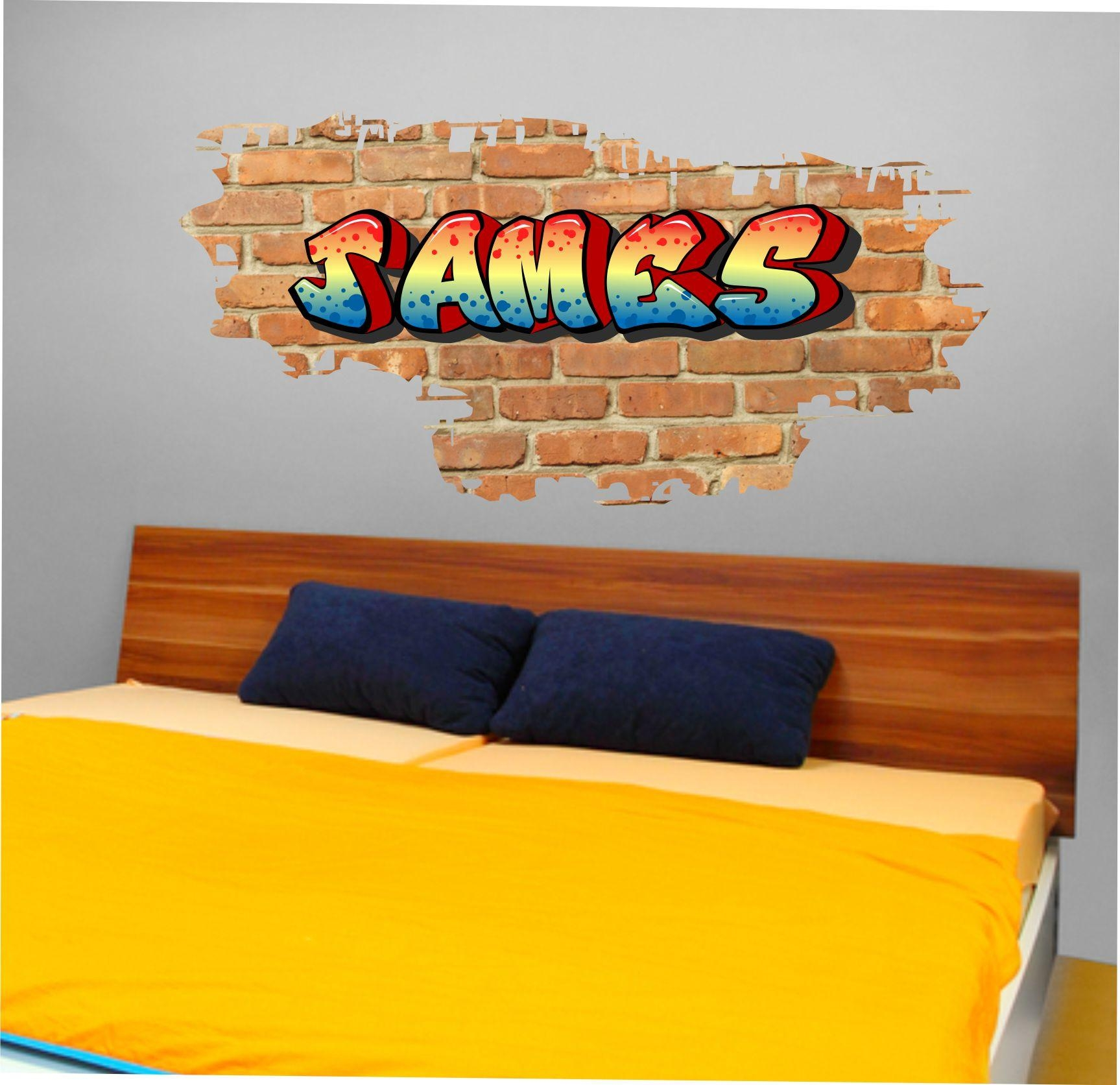 The Grafix Studio | 01 Personalised Graffiti Brick & Name Wall Sticker In Graffiti Wall Art Stickers (Image 15 of 20)