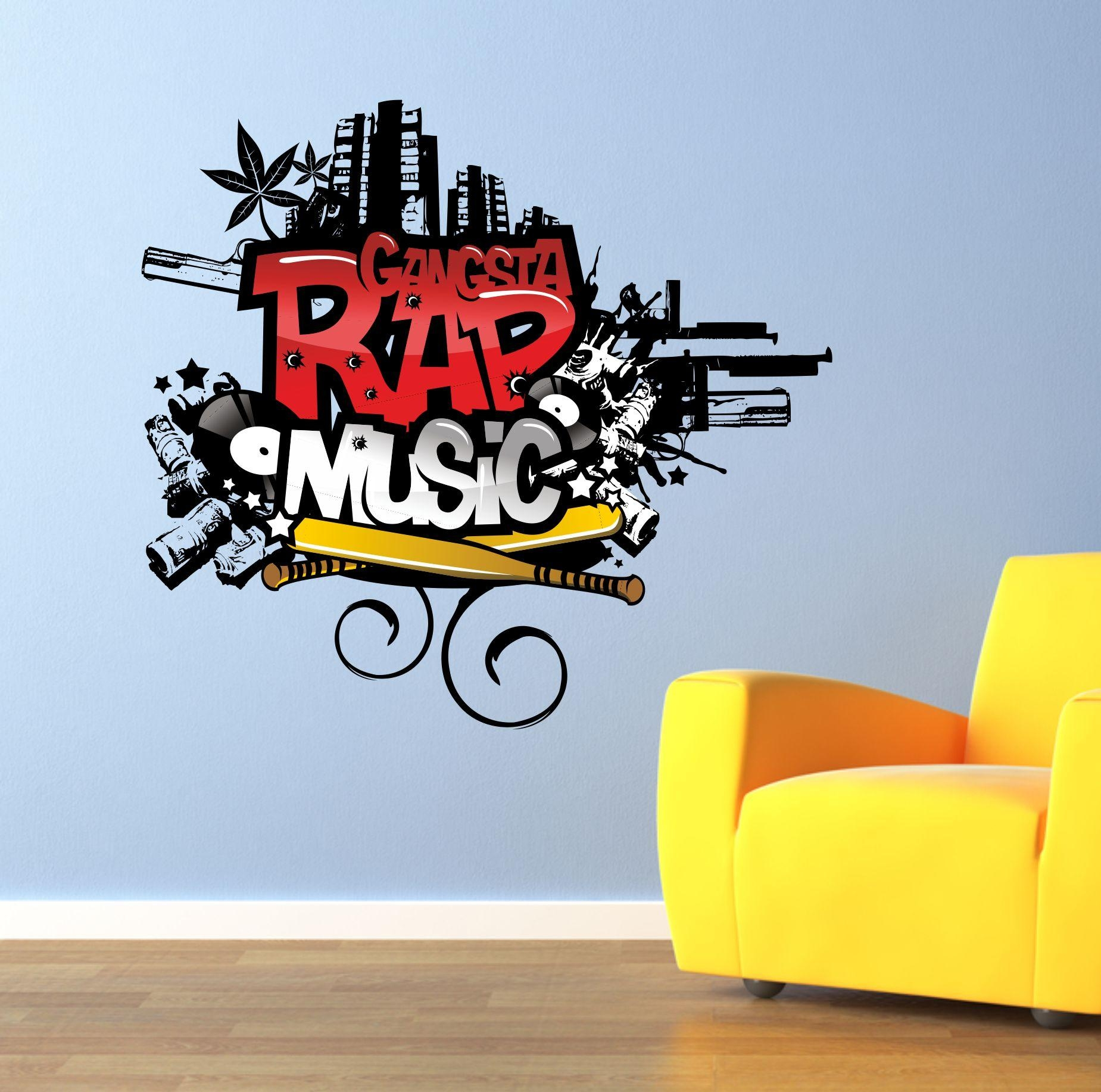 The Grafix Studio | Gangsta Rap Music Graffiti Wall Art Sticker With Graffiti Wall Art Stickers (Image 17 of 20)