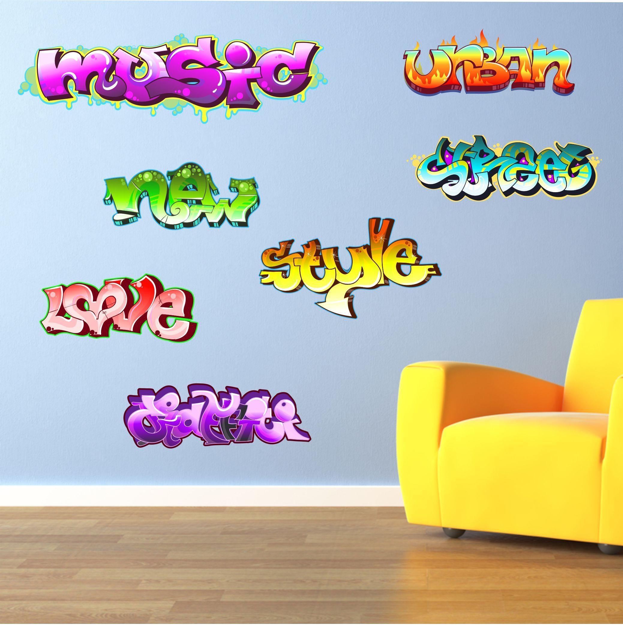 The Grafix Studio   Graffiti Words Wall Art Stickers Within Graffiti Wall Art Stickers (Image 18 of 20)