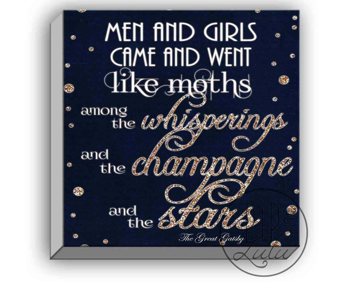 The Great Gatsby Print, Great Gatsby Quotes, On Canvas, Wall Art With Regard To Great Gatsby Wall Art (Image 18 of 20)