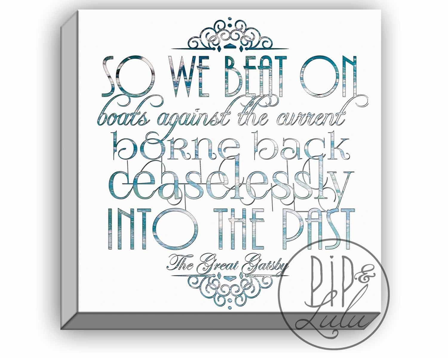 The Great Gatsby Quotes, Boats Against The Current, Large Wall Art Pertaining To Great Gatsby Wall Art (View 9 of 20)