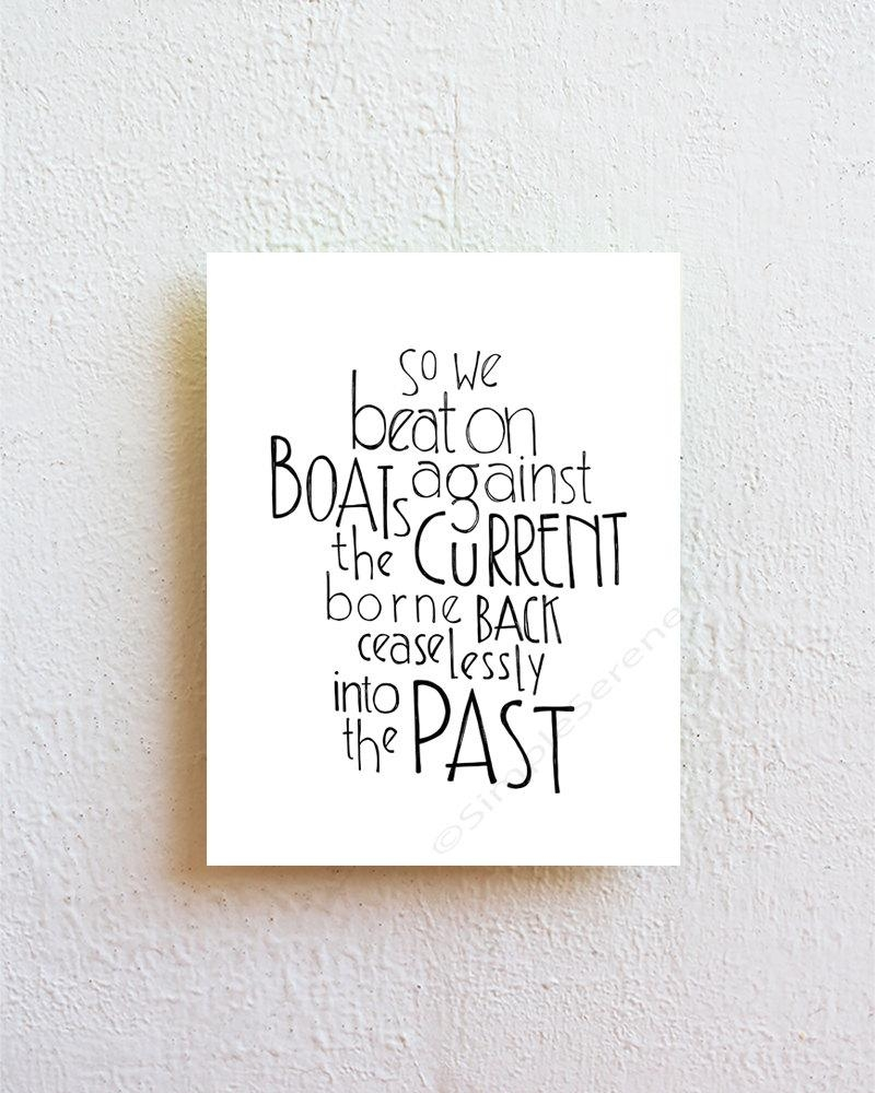The Great Gatsby So We Beat On Literary Art Prints Quote Throughout Great Gatsby Wall Art (View 4 of 20)