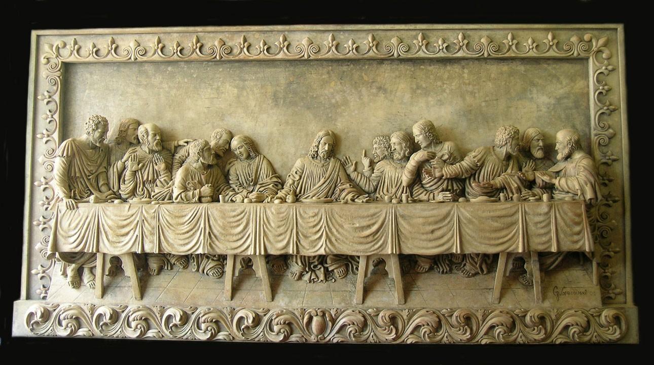 The Last Supper Sculpture Relief Plaque Da Vinci Reproduction Replica Within Last Supper Wall Art (View 15 of 20)