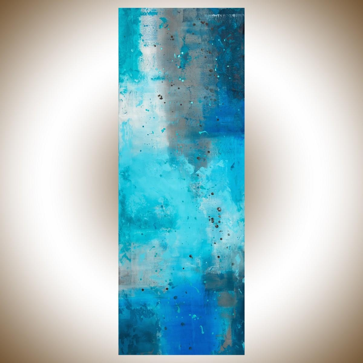 "The Mistqiqigallery 70""x24"" Un Stretched Canvas Original For Turquoise And Black Wall Art (Image 17 of 20)"