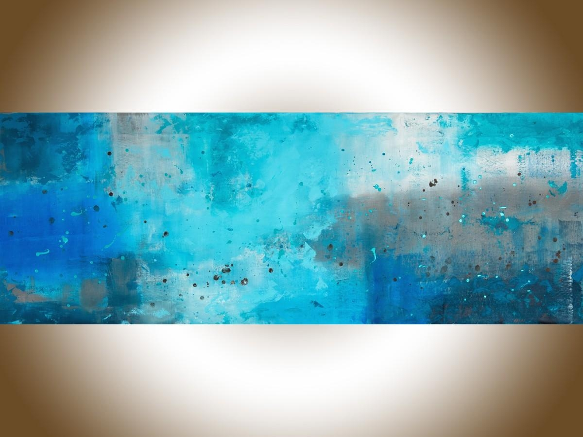 "The Mistqiqigallery 70""x24"" Un Stretched Canvas Original Intended For Turquoise And Black Wall Art (Image 18 of 20)"