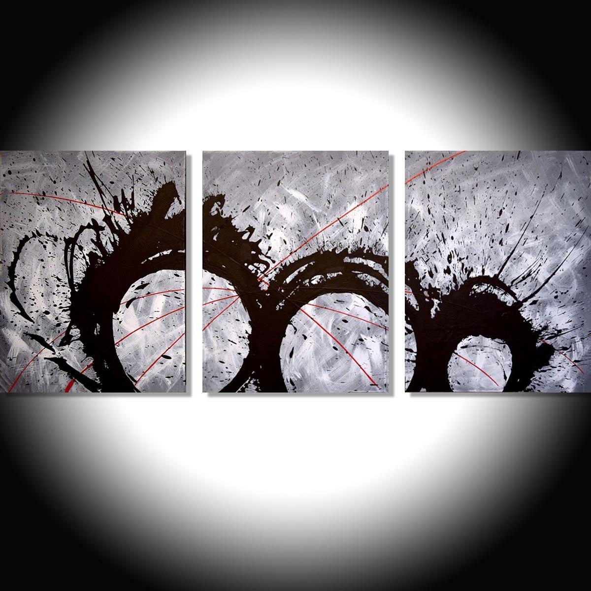 "The Original Triptych Paintings For Sale ""grey Matter"" Modern Art Regarding Triptych Art For Sale (View 4 of 20)"