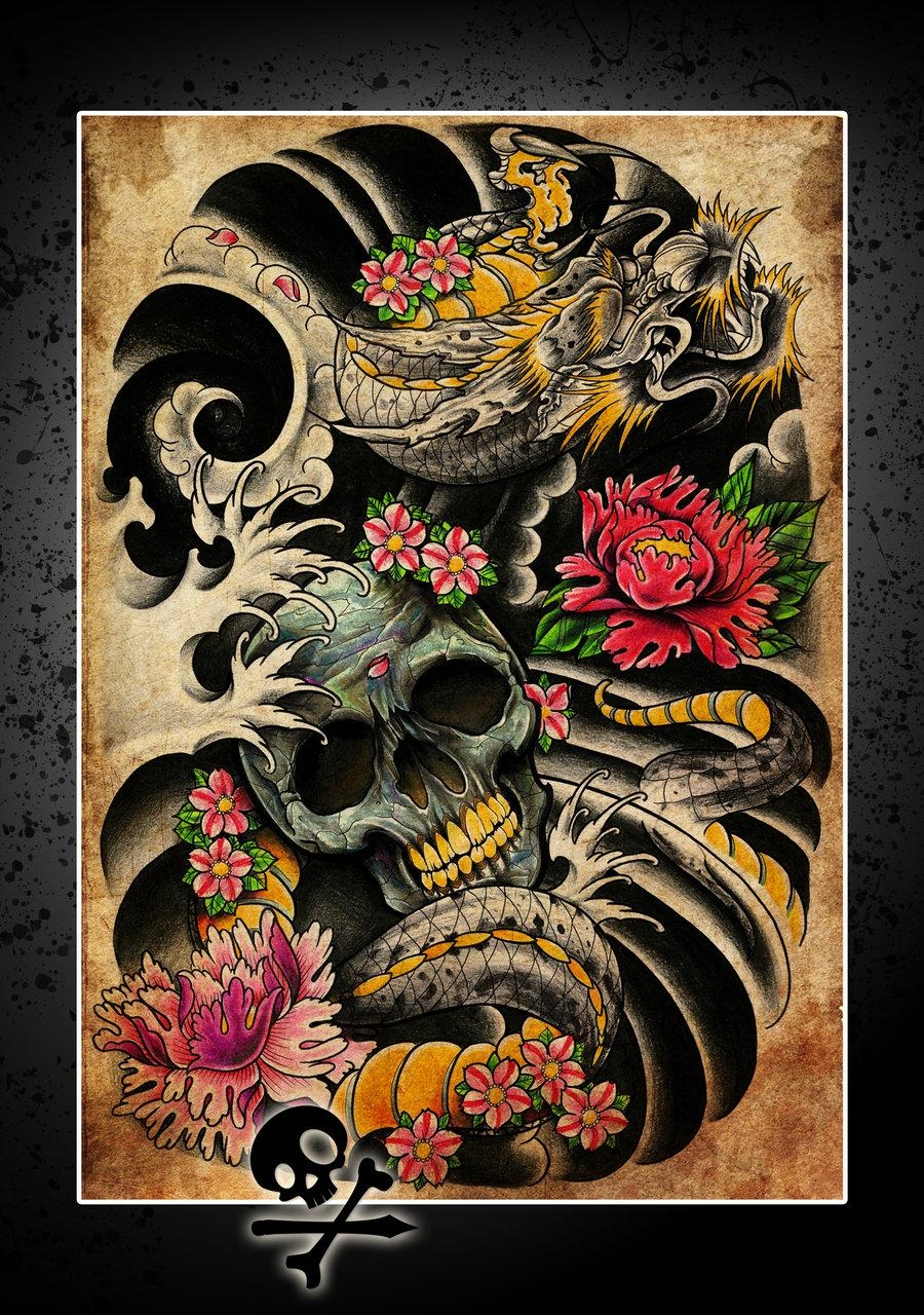 The Skeleton Creative Classic Tattoo Wall Mural Poster Decorative Within Tattoos Wall Art (Image 16 of 20)