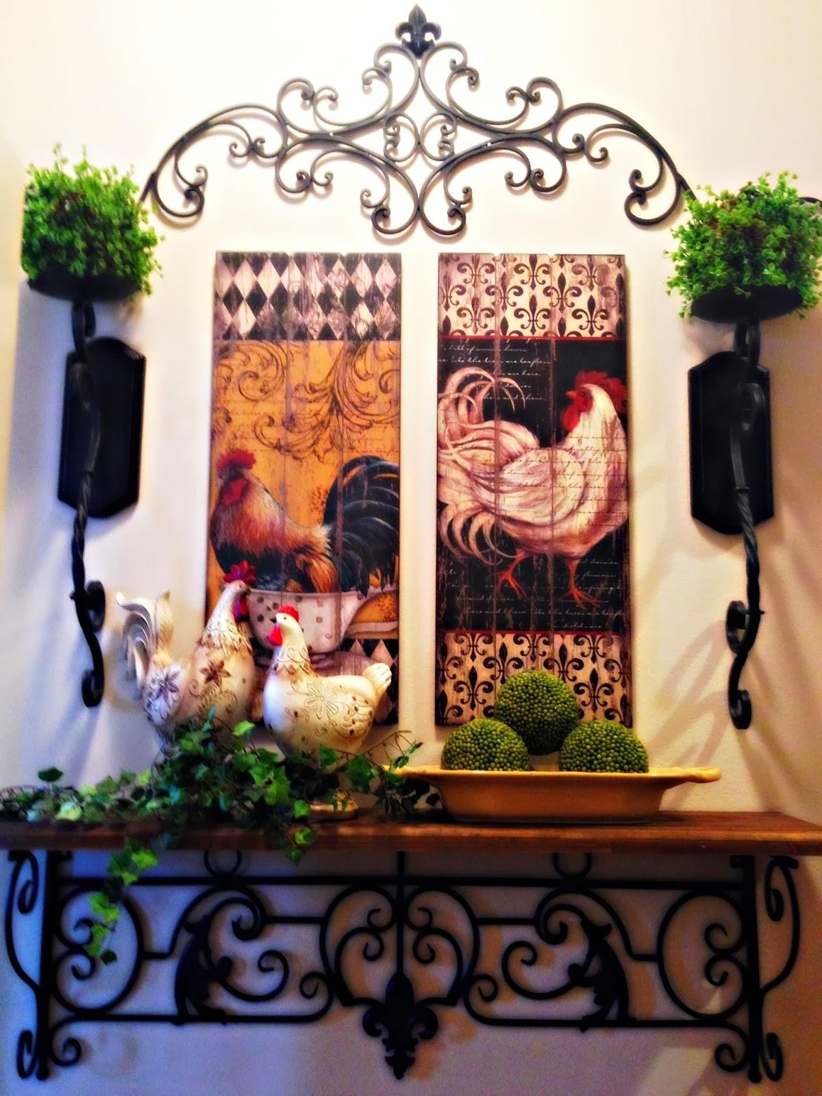 The Tuscan Home: Wall Vignette With Metal Rooster Wall Decor (View 20 of 20)