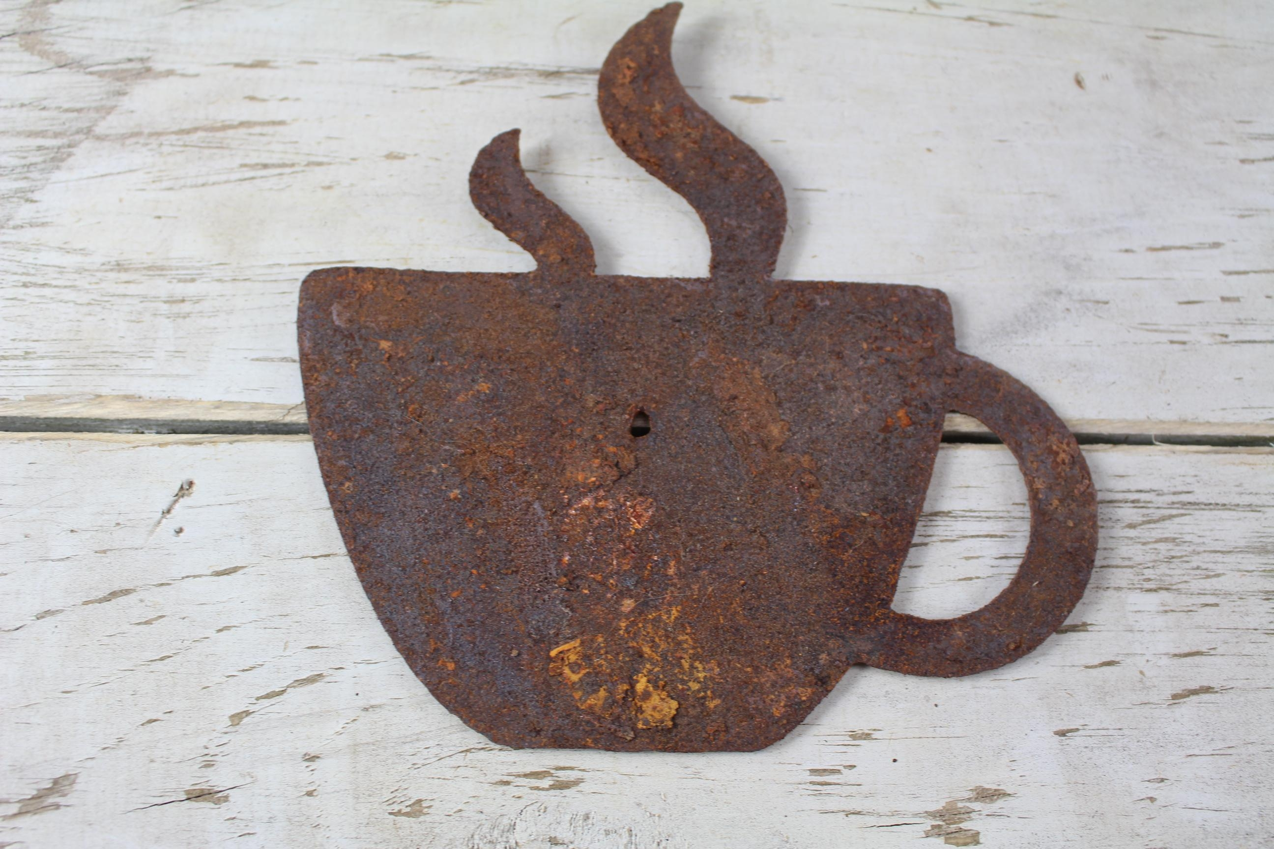 Thick Rusty Metal Coffee Cup – Rustic Metal Letters & Wall Art Within Metal Coffee Cup Wall Art (Image 19 of 20)