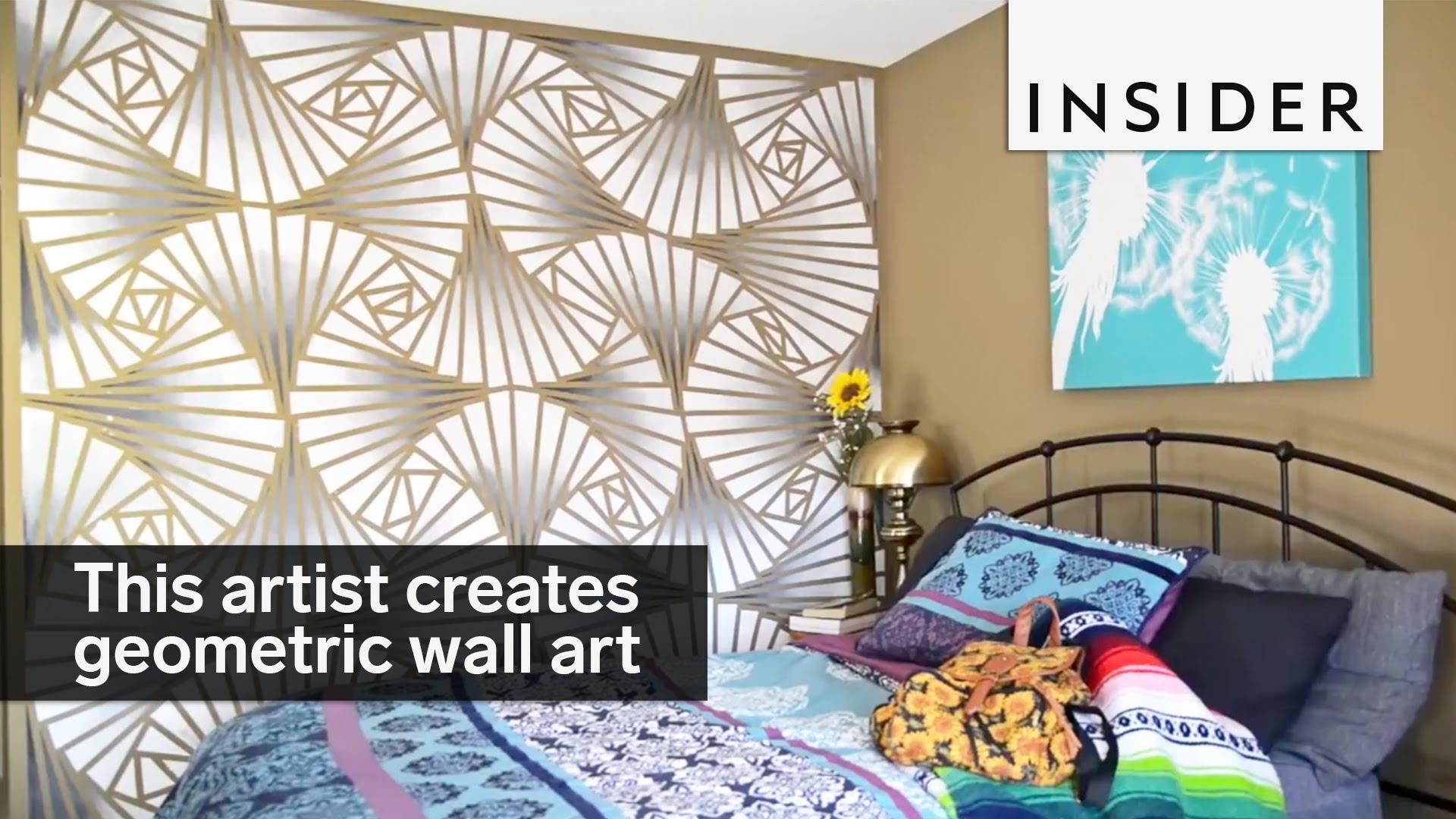 This Artist Creates Stunning Geometric Wall Designs – Youtube Intended For Pattern Wall Art (Image 19 of 20)