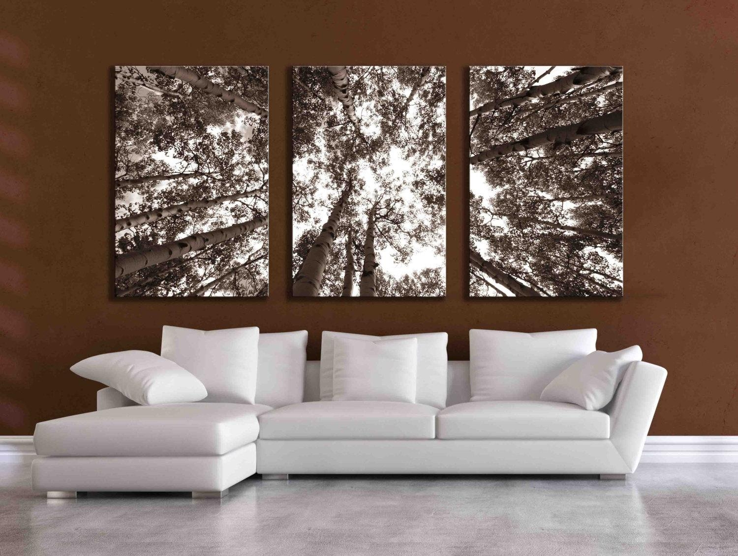 Three Large Multi Panel Wall Art Aspen 20X24 Inch Or 24X36 In Aspen Tree Wall Art (View 3 of 20)