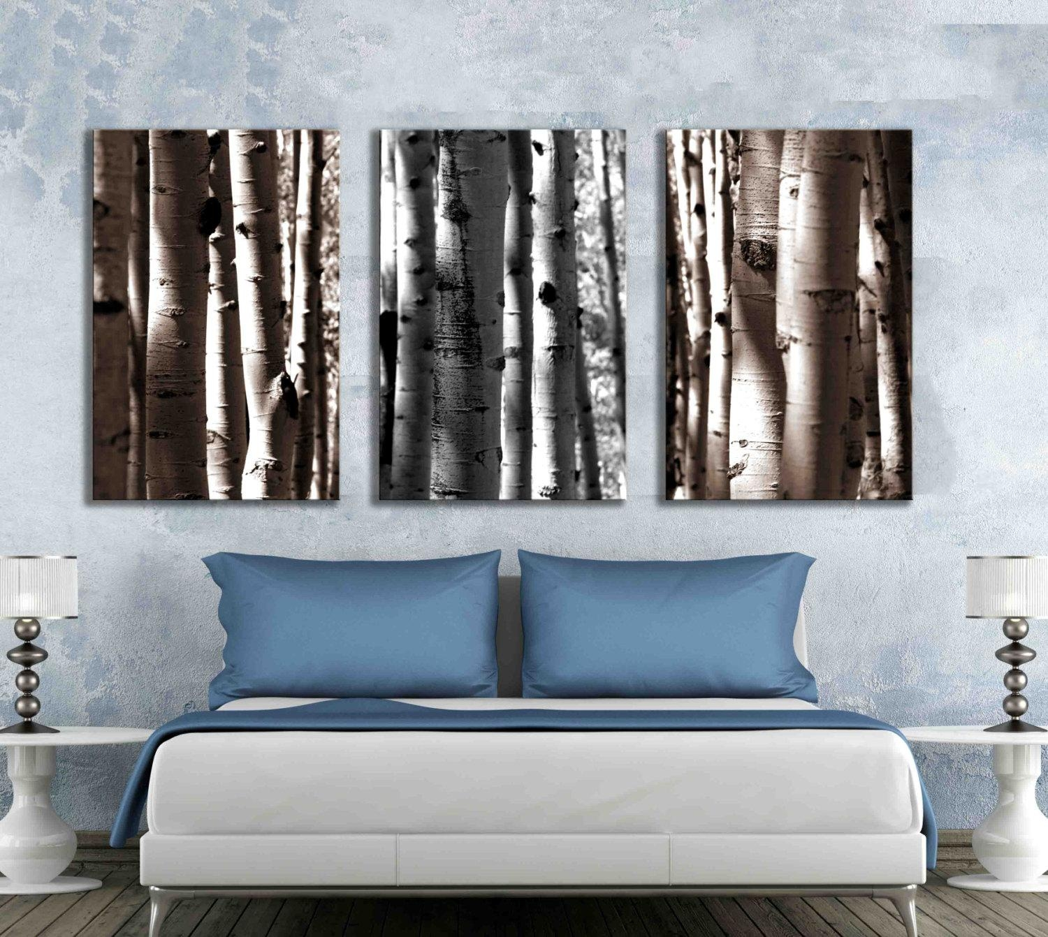 Three Separate Canvas Art Gallery Wrapped Nature Aspen Tree With Regard To Aspen Tree Wall Art (Image 17 of 20)