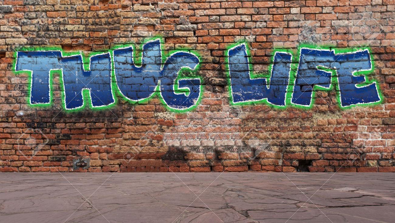 Thug Life Graffiti On A Brick Wall Street Scene Stock Photo Within Street Scene Wall Art (Image 19 of 20)