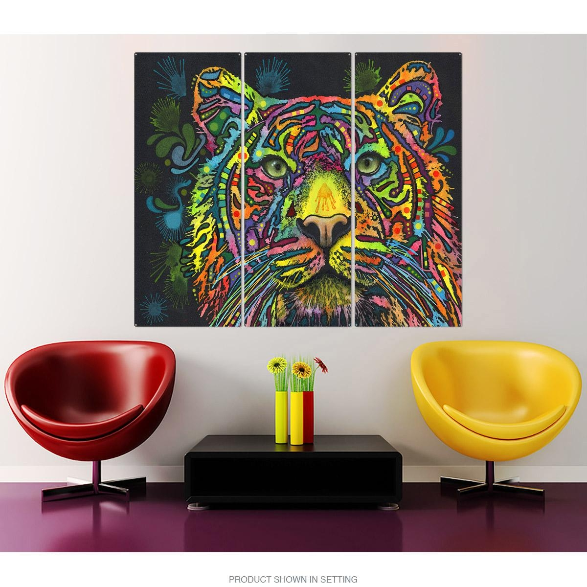 Tiger Big Cat Dean Russo Triptych Metal Wall Art Pop Art | Large For Large Triptych Wall Art (Image 13 of 20)