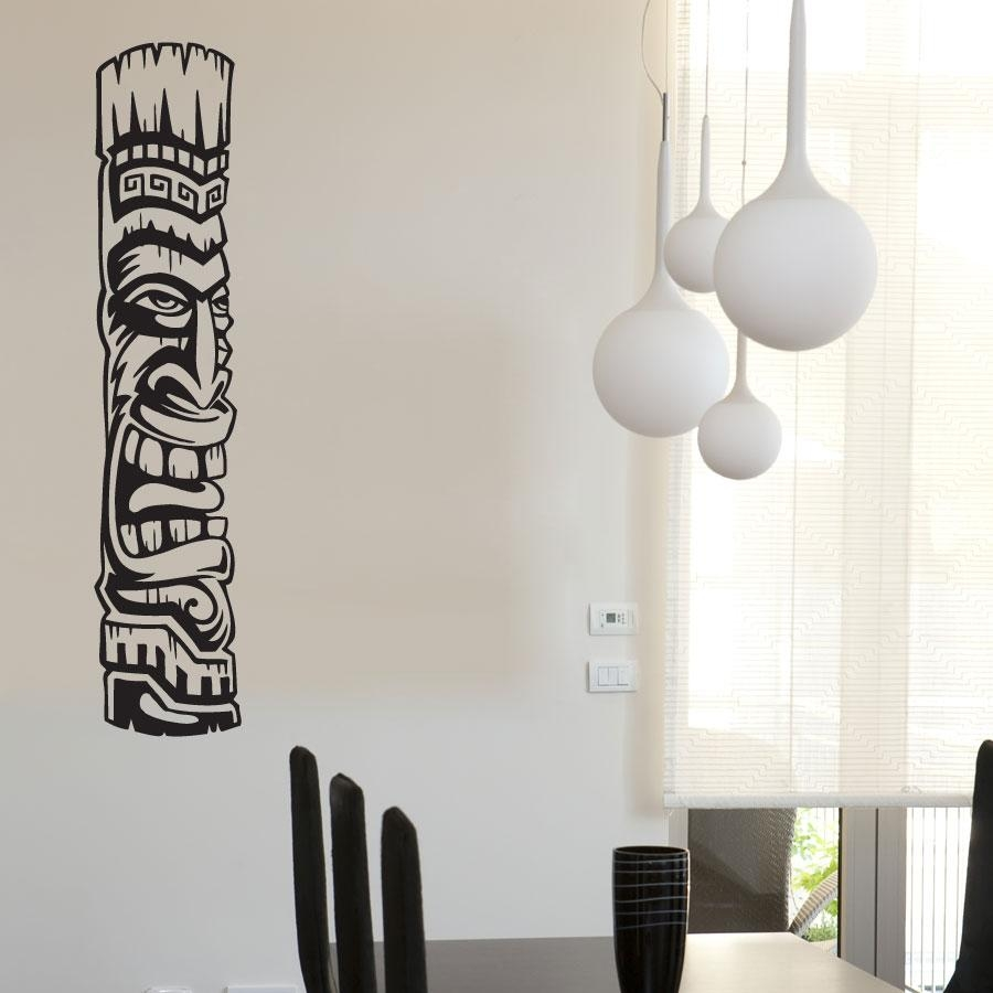 Tiki Totem 2 Vinyl Wall Decal Sticker With Polynesian Wall Art (Image 16 of 20)