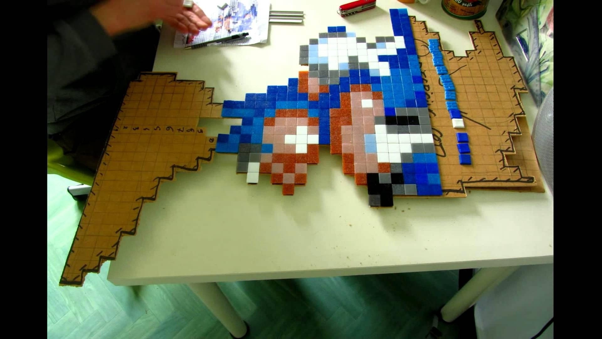 Timelapse Pixel Art Sonic Mosaic – Mosaique – Tutorial In Pixel Mosaic Wall Art (View 1 of 20)