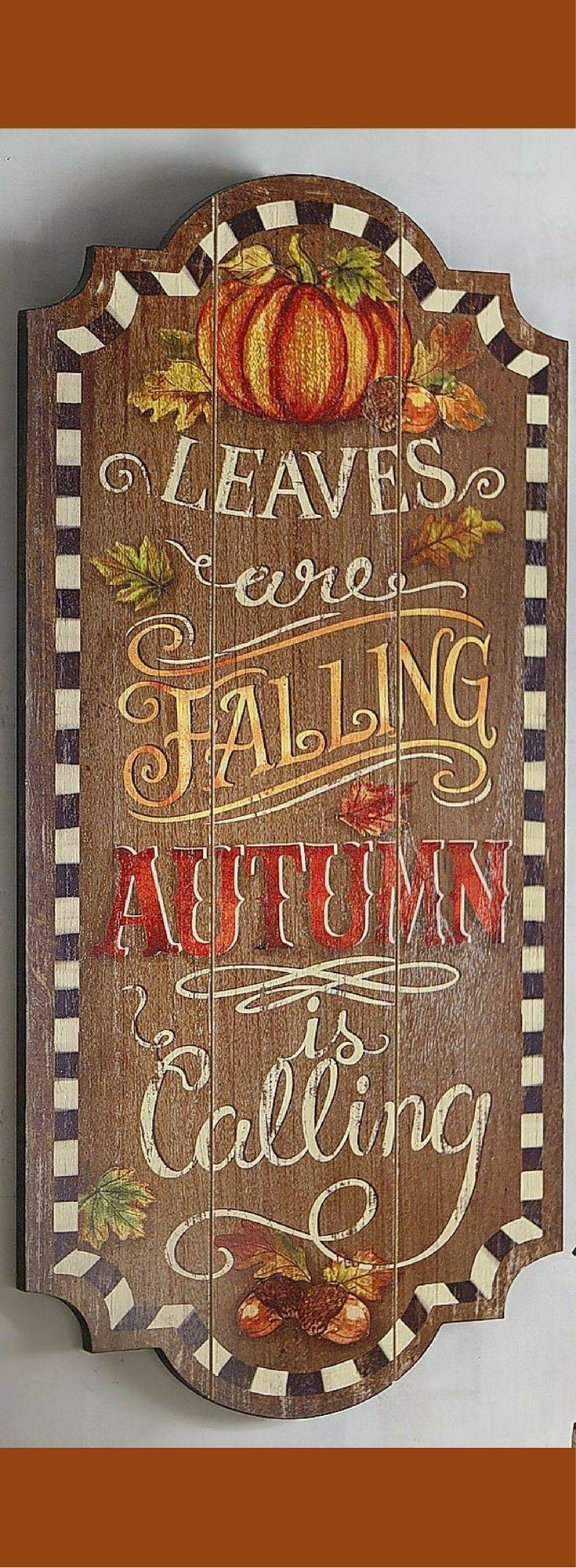 Top 25+ Best Wooden Fall Decor Ideas On Pinterest   Fall Decor With Regard To Autumn  Inspired Wall Art (Image 19 of 20)